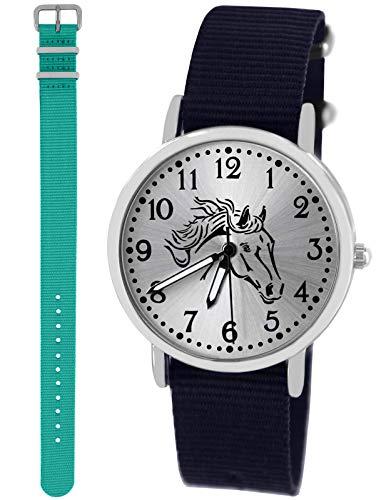 n Uhr Analog Quarz mit 2 Textilarmband 10412 blau türkis ()
