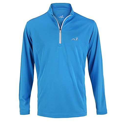 Woodworm Golf Mens 1/4 Zip Pullover / Sweater / Jumper Sky Blue/Silver Large