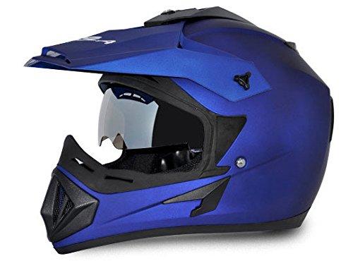 Vega Off Road OR-D/V-DMB_M Full Face Motocross Helmet (Dull Blue, M)