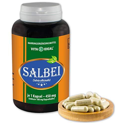VITA IDEAL ® Salbei (Salvia officinalis) 360 Kapseln je 450mg, aus rein natürlichen Kräutern, ohne Zusatzstoffe