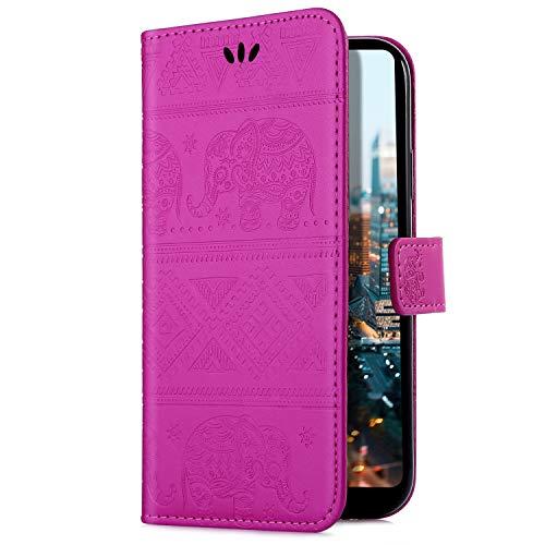 Uposao Handyhülle für Samsung Galaxy Note 9 Handytasche Handy Schutzhülle Prägung Elefanten Muster Lederhülle Hülle Ledertasche Bookstyle Leder Klapphülle Flip Case Cover Kartenfach,Rose Rot