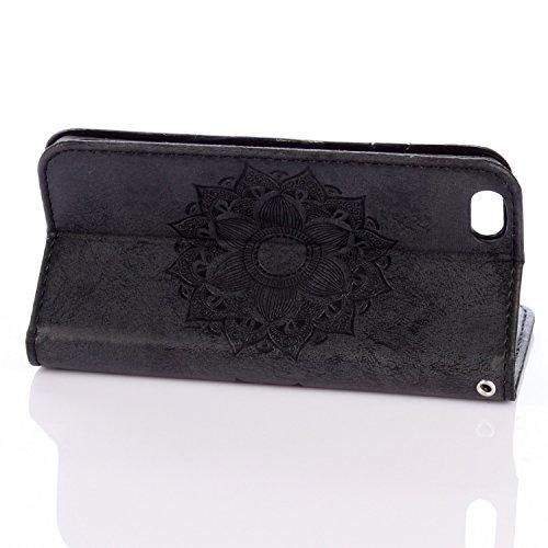 JIALUN-Telefon Fall Für IPhone 6 u. 6s Fall, reine Farbe geprägt mit Einbauschlitz, Lanyard, magnetische Wölbung, flach öffnen die Telefon-Shell ( Color : Brown ) Black