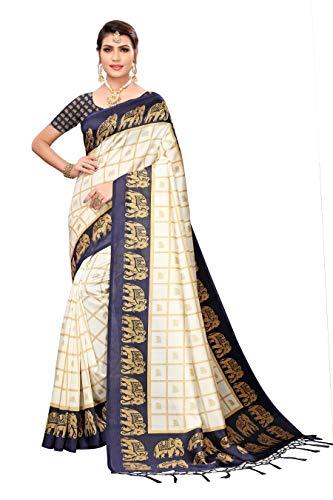 Anni Designer Women's Navy Blue Color Mysore Silk Printed Saree Border Tassels With Blouse Piece(WEDDING-ELEPHANT-NAVY BLUE_Free Size)