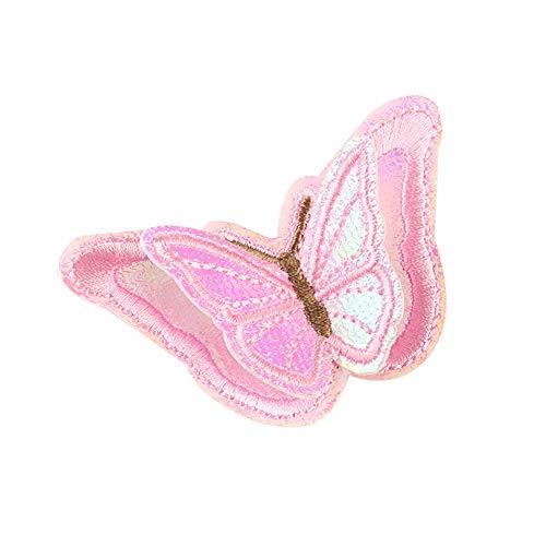 Ouken 3D-Schmetterling Patch-Stickerei Stoff-Flecken für Kleidung Reparatur und dekorieren nähen auf DIY Patches Tasche Hut schmückendes Beiwerk Rosa -