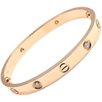 18K Gold Plated Screw Design Crystal Bracelet Bangle