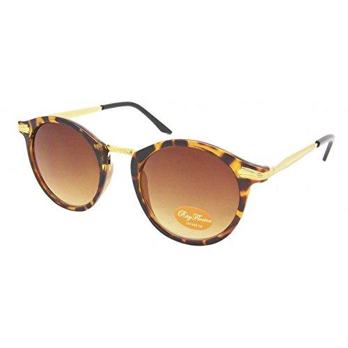 Chic-Net Sonnenbrille rund Vintage 400UV Metall verziert golden John Lennon Stil braun