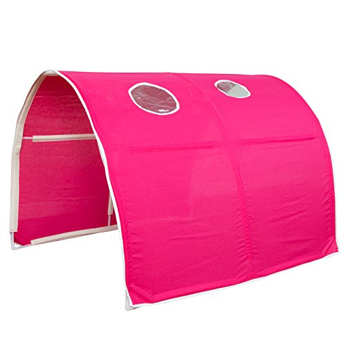 Homestyle4u 1442, Kinder Tunnel Für Hochbett, Baumwolle, 90 cm Breit, Pink -