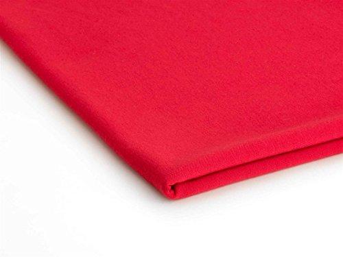 French Terry Polyester Stoff Jersey 50x180 cm - Verschiedene Farben (Rot Nr.6) (6 Stoff-farben-licht)