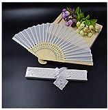 Gift White Wedding Personalized Silk Fan Wedding Favor Cloth Hand Folding Fans Customized Printingwhite Organza Bag A