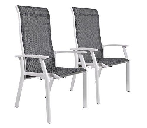 Charmant Gartenstuhl 2er Set, Alu, Bezug (anthrazit), Wetterfester Metall  Hochlehner, Verstellbare Rückenlehne. Ideal Auch Als Balkon Stuhl Und  Terrassenstuhl.