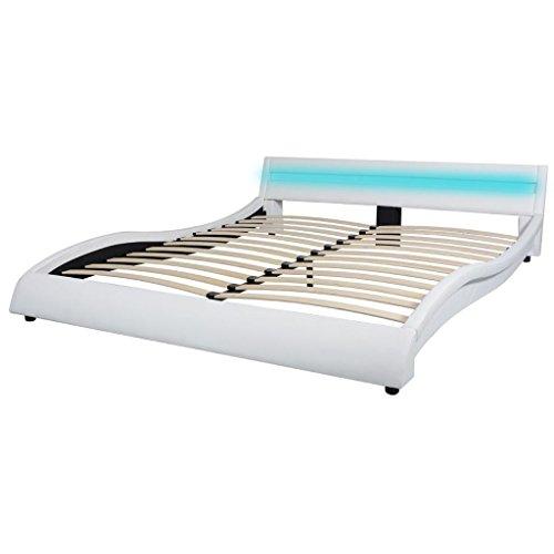 vidaXL Cadre de Lit LED 160x200 cm Cuir synthétique Blanc Lit Double Lit Adulte
