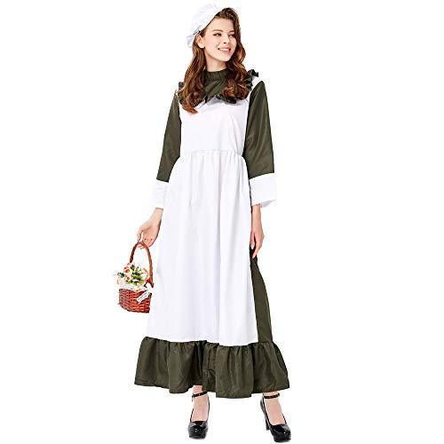 NCY Halloween Damen Renaissance Maid Cosplay Kostüm Vintage Pastoralen Stil Party Game Drama Bier Festival Dress Up Large Size,M (Renaissance Maid Kostüm)