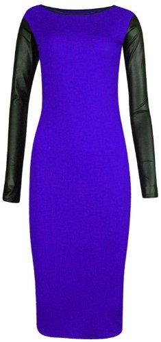 nouvelles femmes de taille plus pu wet look robe de midi à long moulante à manches Royal Blue