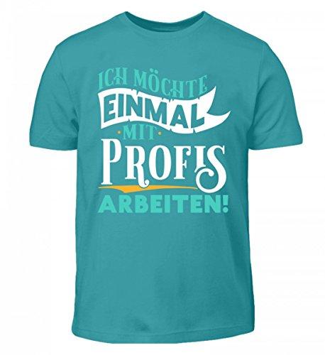 Shirtee Hochwertiges Kinder T-Shirt - Ich Möchte Einmal mit Profis Arbeiten - Profi Beruf Anfänger Arbeit Poolblau