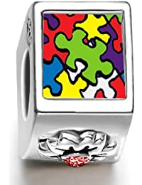 Silver Plated Word Autism January birthstone Photo Flower European Charm Bead