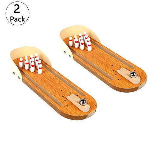 2 Teiliges Set Mini Bowling Tischplatte aus Holz, Mini Bowling Spiel Bestes Interaktives Tisch-Bowling-Spiel für Kinder und Erwachsene- Perfektes Stressabbau-Spiel und Party Favor(Unter 14 Jahre Alt)