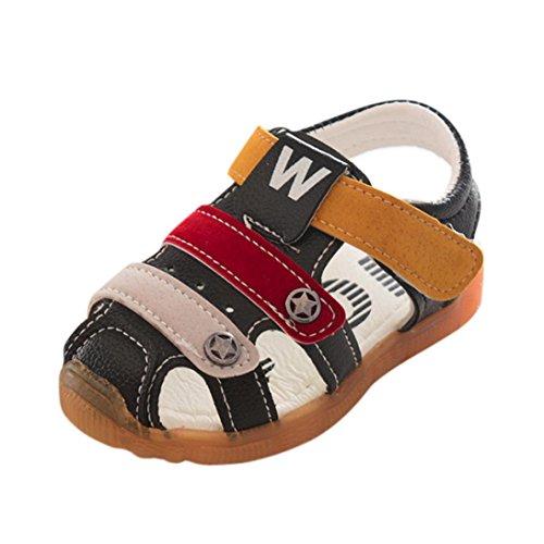 SOMESUN Fashion Baby Jungen Sandalen Kinder Hohl Anti-Rutsch Kunstleder Weiche Sohle Beiläufig Freizeit Strand Single Star Schuhe Sneaker (EU23, Schwarz) (Kleinkinder Jordan Schuhe Für Mädchen)