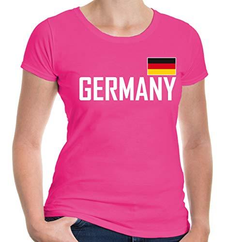 buXsbaum Damen Girlie T-Shirt Germany   Deutschland Allemagne Alemania Europa Ländershirt Flagge Trikot Reise   M, Rosa
