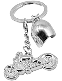 Faynci Silver Bike With Helmet Keychain Keyring For Sport Bikes And Fashion Lover
