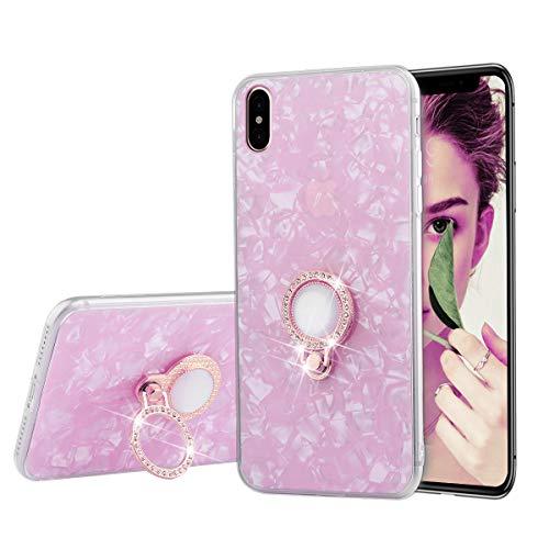 iPhone X Fall, sqmcase Seashell Muster Slim Fit Transparent Bumper Soft TPU Schutzhülle mit Glitzer Diamant Finger Ring Ständer für Apple iPhone X/10, iPhone X/10, Rose Pattern-thin Hals
