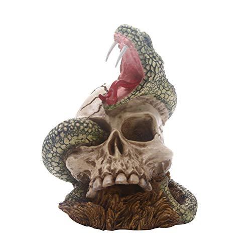 Amosfun Halloween Kopf Schädel Harz Ornament Schlange mit Schädel Craft Halloween Dekoration Prop (Für Halloween 12 Tisch)