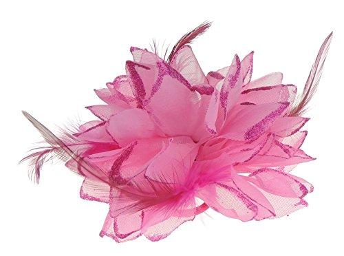 Haar Blume Fascinator Haar Krawatte Clip Fuchsia Pink (Blume Und Feder-haar-clips)