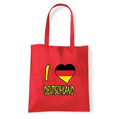 Art T-shirt, Borsa Shoulder I Love Deutschland, Shopper, Mare Rosso