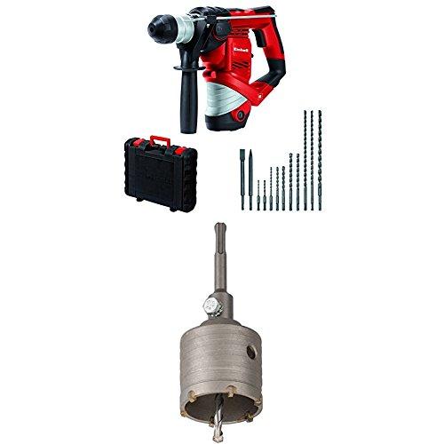 Einhell Bohrhammer Set TC-RH 900 (900 W, 3 J, Bohrleistung in Beton Ø 26 mm, SDS-Plus-Aufnahme, inkl. 12 tlg. Bohr- und Meißelset) + kwb Hohlbohrkrone Ø 68 mm Hartmetall 175366 (SDS Plus Schaft, schlagbohrfest)