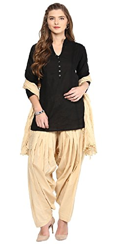 Pistaa women's Cotton Short Black Kurta and Beige Punjabi patiala Salwar with...