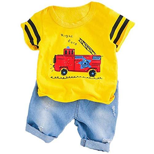 Kostüm Feuerwehrauto Kleinkind - Sunlera Baby-Jungen-Kleidung-Klagen Fire Truck-T-Shirt Shorts Kinder-Kind-Kostüm Sommer Kleinkind-Säuglingskleidung Set