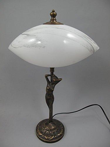 Figürliche Jugendstil Tischlampe, Messing brüniert mit weißem Muschelschirm