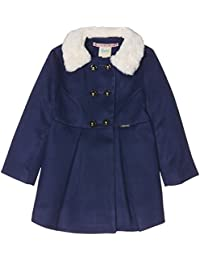 Uttam Boutique Girl's Fur Collar Double Breasted Coat