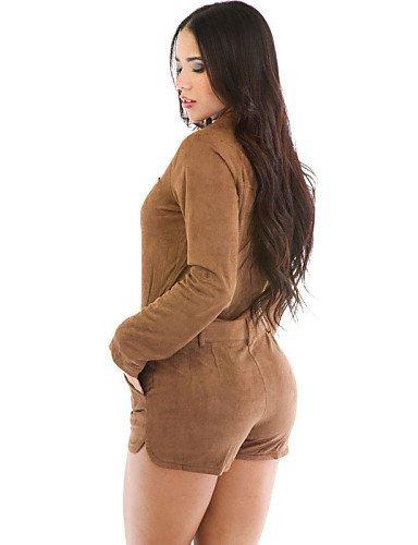 GSP-Combinaisons Aux femmes Manches Longues Sexy / Décontracté Polyester / Spandex Moyen Non Elastique navy blue-one-size