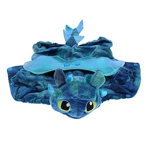 D DOLITY Haustier Hund Katze Halloween Drachen Kostüm Cosplay Kleidung - Blau, M