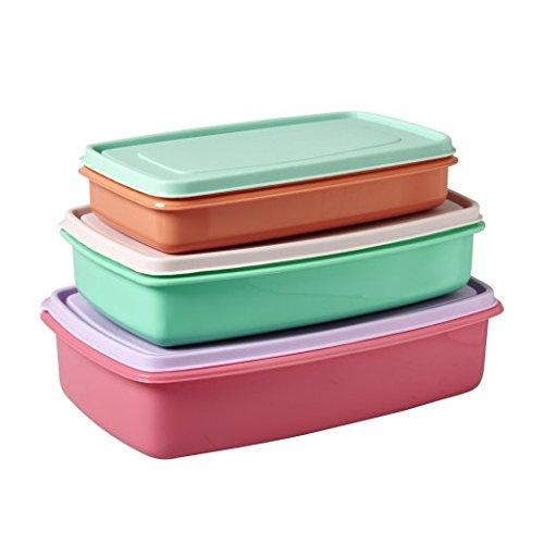 rectangulaire hermétique Boîte de nourriture en plastique de couleurs assorties – lot de 3 par Riz DK
