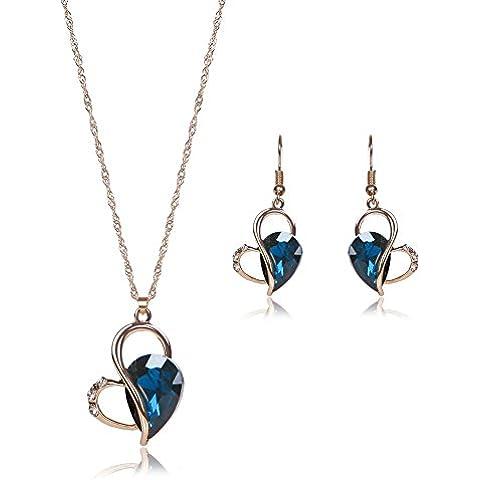 Donne oro placcato pendente di cristallo sottile collana orecchini gioielli Set , rose gold (Cristallo Turchese Croce)