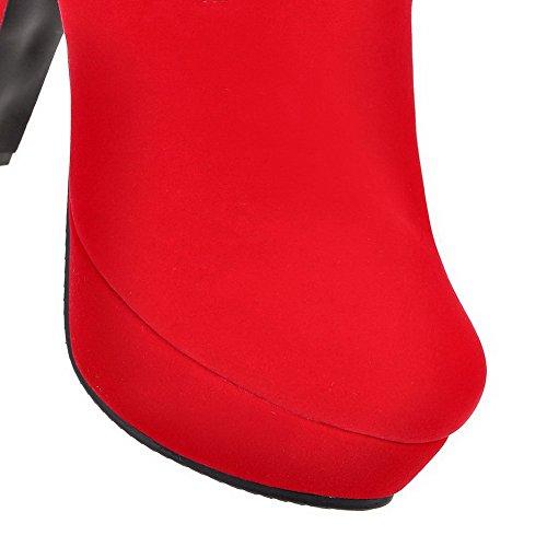 VogueZone009 Damen Reißverschluss Hoher Absatz Nubukleder Nietbolzen Niedrig-Spitze Stiefel Rot