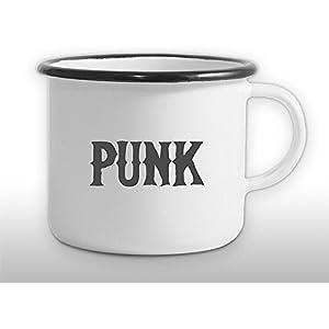 The Manufacture Punk Musik Musiker Emaille Becher Tasse als Geschenk, weiß Freund Outdoor Festival Rocker