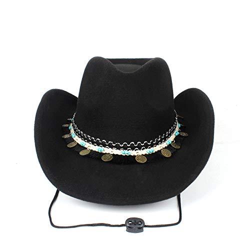 ZHENGYIXIA HAT Für Damenhüte Mode Frauen Westerly Cowboyhut Quaste Band Dame Cowgirl Fedora Jazz Hut Mit Windseil (Farbe : Schwarz, Größe : 56-59cm)