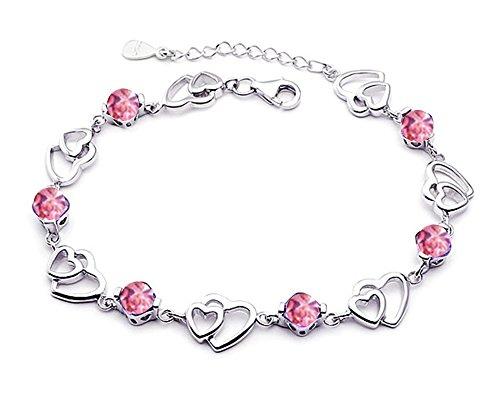 findout Amethyst rot, rosa, blau, weiß-Kristallherz-Silber-Armband für Frauen Mädchen. (rosa Kristall)