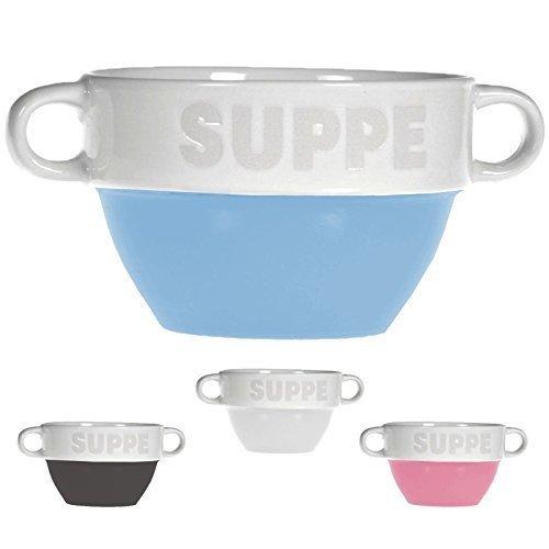 Suppentasse Suppen Tasse Suppenschüssel Schüssel Suppenterrine Landhaus (4 Stück, Blau)