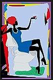 Postereck - Poster 1473 - Retro Plakat, Party Klo- Schild Toilette Bunt Frau Größe 3:2-61.0 cm x 40.5 cm