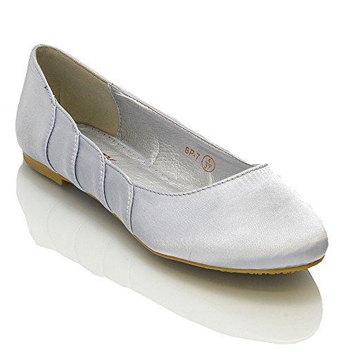 ESSEX GLAM, Ballerine donna Bianco bianco Silver Satin