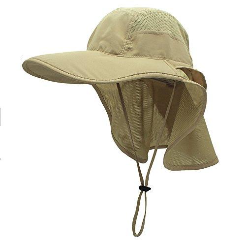 gg st Sonnenhut Herren Damen UPF 50+ Outdoor UV Summer Cap mit Nackenschutz Hiking Fischerhut Strand Faltbar Safari Buschhüte Mesh Hat, Khaki -