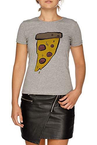 (Pizza - Pizza Damen Grau T-Shirt Größe L | Women's Grey T-Shirt Size L)