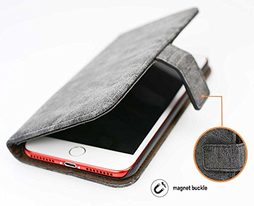 Iphone 7Hülle, Iphone7 Case,Nnopbeclik Fashion Classic Leder Handyhülle Tasche Flip Wallet Case mit Strap Portable Handytasche Anti-Scratch Shell Cash Pouch ID Card Slot Magnetverschluss Etui Soft Sil Gray
