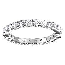 Swarovski Vittore XL Ring, Weißer, Rhodinierter Damenring mit Funkelnden Swarovski Kristallen