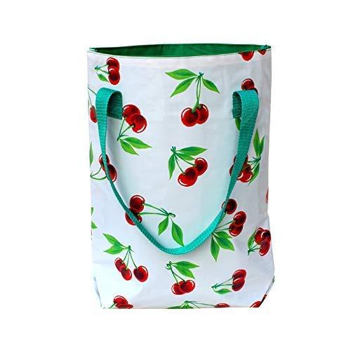 IKURI Einkauftasche - Wasserdicht Shopper für Frauen Beutel Einkaufsbeutel Badetasche Tote Bag aus Wachstuch - Design Cerezas weiss