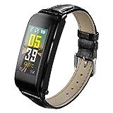 WYR Intelligentes Armband Runde Farbe Herzfrequenz Blutdrucktest Pedometer Extra Langes Standby-Armband (Farbe : SCHWARZ)
