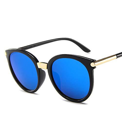DZSF Koreanische Unisex-Version des runden Rahmens Persönlichkeit Retro-Sonnenbrille, modifiziertes Gesicht, UV-beständig mit Brillenetui,4